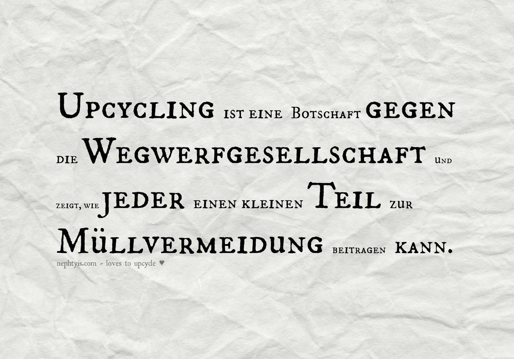 Upcycling-Botschaft